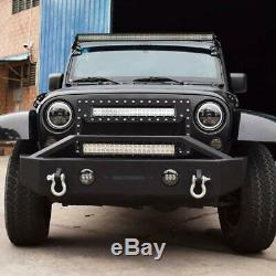 Front Bumper with Built-in LED Lights Ring For Jeep Wrangler 07-18 JK Unlimited