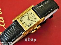 Ladies CARTIER TANK Manual Wind, Roman Numerals Dial, One Year Warranty