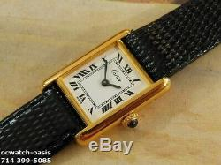 Ladies CARTIER TANK, Roman Numerals Dial, Serviced With One Year Warranty