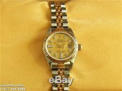 Ladies ROLEX 2 TONE DATEJUST 18K YELLOW GOLD & SS, Serviced, One Year Warranty