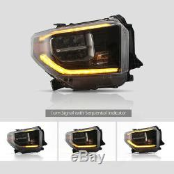 One Pair Head Lights Full LED Fits For 2014-2018 Toyota Tundra Warranty 1 Year