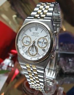 Seiko 7A38-728A serviced watch two tone day date chronograph One Year Warranty