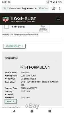 Tag Heuer Formula One WAZ1110. BA0875 Brand New Unworn 2 Year Warranty F1 boxed