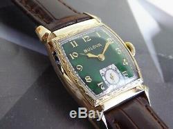 Vintage 1948 Men's Bulova, 17 Jewels Swiss Made Green Dial One Year Warranty
