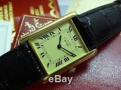 Vintage Unisex Cartier Tank, Roman Dial, Box&Papers Buckle One Year Warranty